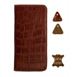 Кожаный чехол PALMEXX для Apple iphone 6/6S крокодил /коричневый/