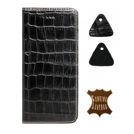 Кожаный чехол PALMEXX для Apple iphone 6/6S крокодил /черный/