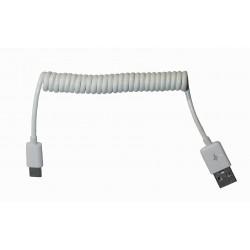 Кабель PALMEXX USB C-type - USB / пружина / длина 1м / белый