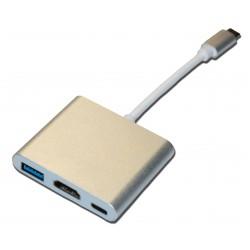 Кабель PALMEXX USBC-HDMI-USB3.1-USBC / золото
