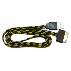 Кабель USB для Apple iPhone 4 / iPad2 в переплёте плоский /черный-желтый/