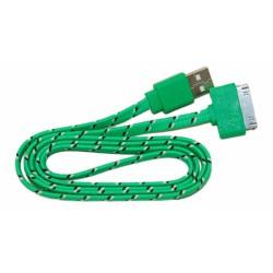 Кабель USB для Apple iPhone 4 / iPad2 в переплёте плоский /зеленый-черный/