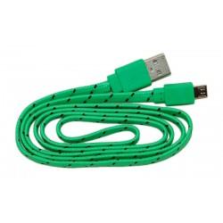 Кабель USB - micro USB в переплёте плоский /зеленый-черный/