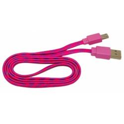 Кабель USB - micro USB в переплёте плоский /малиновый-сиреневый/