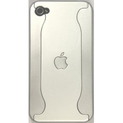 Чехол для iPhone 4G из двух частей с яблоком серебряный