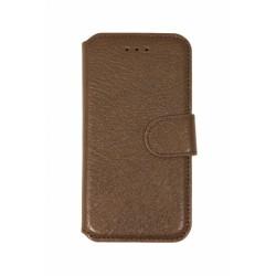 Кожаный чехол PALMEXX книга-подставка для Apple iphone 6 с пластиковым держателем /коричневый/