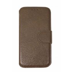 Кожаный чехол PALMEXX книга-подставка для Samsung Galaxy S6 SM-G920F с пластиковым держателем /коричневый/