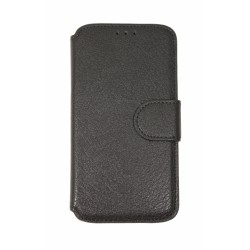 Кожаный чехол PALMEXX книга-подставка для Samsung Galaxy S6 EDGE с пластиковым держателем /черный/