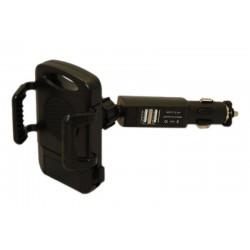 Держатель универсальный для смартфонов в прикуриватель автомобиля с 2 USBx1A разъемами для зарядки цифровых устройств