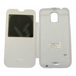 Чехол-книга с аккумулятором для Samsung G900 Galaxy S5 /3800mAh/белый/
