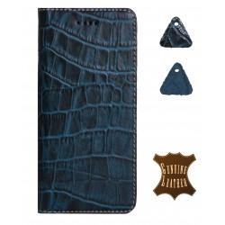 Кожаный чехол PALMEXX для Apple iphone 6/6S крокодил /синий/