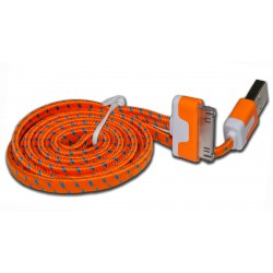 Кабель PALMEXX USB Apple iPhone 4 / iPad2 в переплёте плоский /оранжевый/
