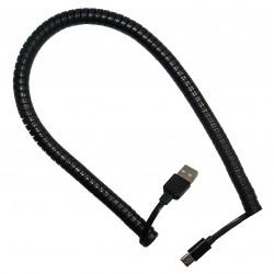 Кабель PALMEXX USB C-type - USB / пружина / длина 2м / черный