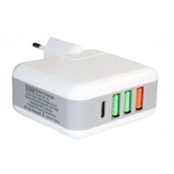 Зарядное устройство Qualcomm Quick Charge 3.0 3*USB+TypeC (25W)