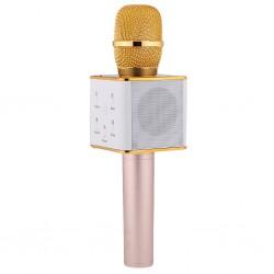 Беспроводной микрофон-караоке с встроенным динамиком Q7 /золотой