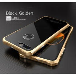 Чехол LUPHIE для IPHONE7 TOUGHEND GLASS BACK + METAL FRAME / черный+золото