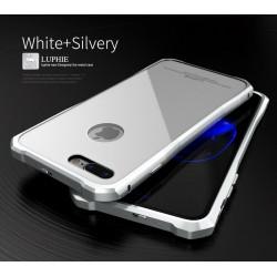 Чехол LUPHIE для IPHONE7 TOUGHEND GLASS BACK + METAL FRAME / белый+серебро
