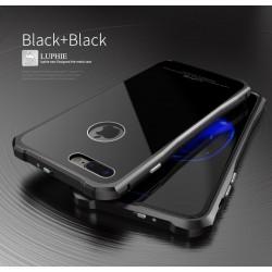 Чехол LUPHIE для IPHONE7 TOUGHEND GLASS BACK + METAL FRAME / черный+черный