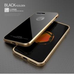 Чехол LUPHIE для IPHONE7 CIRCLE ARC TOUGHENED GLASS BACK / черный+золото