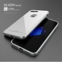 Чехол LUPHIE для IPHONE7 CIRCLE ARC TOUGHENED GLASS BACK / белый+серебро