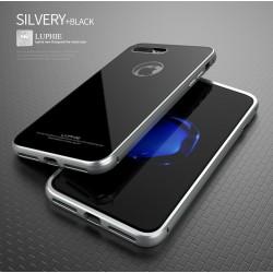 Чехол LUPHIE для IPHONE7 CIRCLE ARC TOUGHENED GLASS BACK / серебро+черный