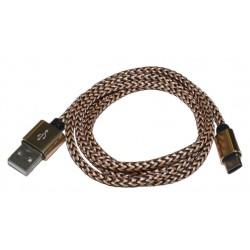 Кабель PALMEXX USB C-type - USB2.0 в оплетке /черно-золотой
