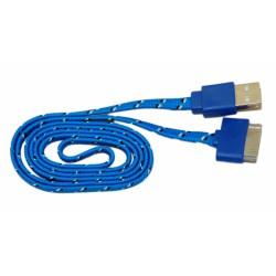 Кабель USB для Apple iPhone 4 / iPad2 в переплёте плоский /синий-черный/
