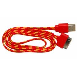 Кабель USB для Apple iPhone 4 / iPad2 в переплёте плоский /красный-желтый/