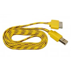 Кабель USB для Apple iPhone 4 / iPad2 в переплёте плоский /желтый-сиреневый/