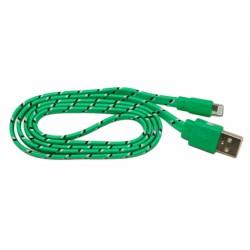 Кабель USB для Apple iPhone 5 в переплёте плоский /зеленый-черный/