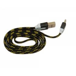 Кабель USB - micro USB в переплёте плоский /черный-желтый/