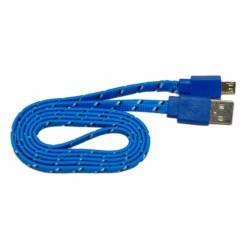 Кабель USB - micro USB в переплёте плоский /синий-черный/
