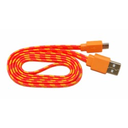Кабель USB - micro USB в переплёте плоский /оранжевый-желтый/