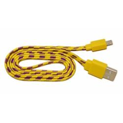 Кабель USB - micro USB в переплёте плоский /желтый-стальной/