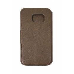Кожаный чехол PALMEXX книга-подставка для Samsung Galaxy S6 EDGE с пластиковым держателем /коричневый/