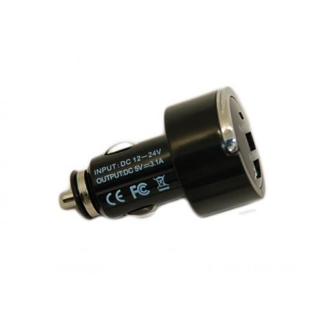 Зарядное устройство от прикуривателя автомобиля на 2хUSB порта /5V 3,1A /черный/
