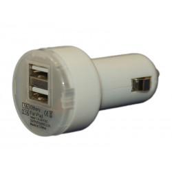 Зарядное устройство от прикуривателя автомобиля на 2xUSB порта DH /5V 3,1A/белый/
