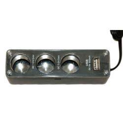 АЗУ разветвитель Palmexx (3 прикуривателя и USB выход)